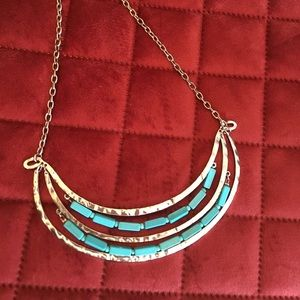Statement silver and turquoise necklace